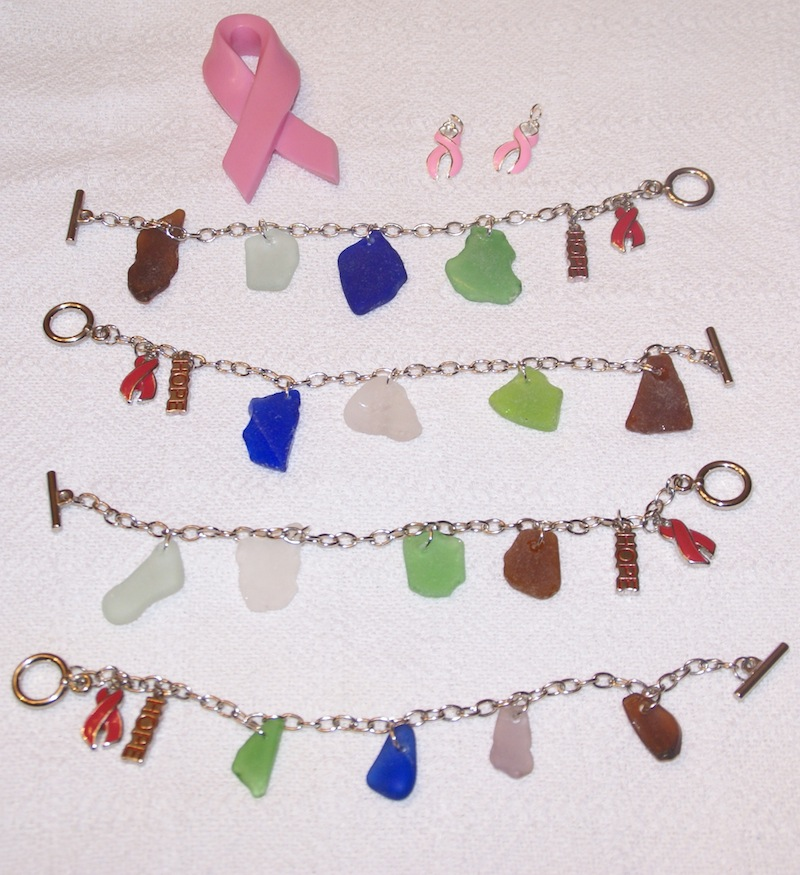 Sea Glass Bracelets and Ribbons